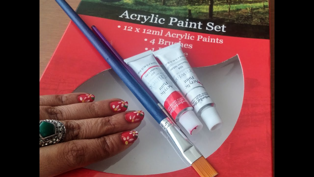 Paint Your Nails With Your Kids Paint Setacrylic Paint Nail Art