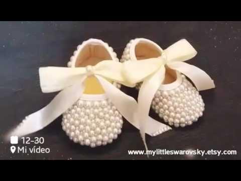 9dcc4b3ae Zapatos niña Swarovski y perlas color Ivory Bautizo boda