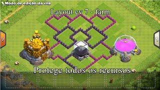 Clash of clans - layout farm para cv7 ( protege todos os depósitos )