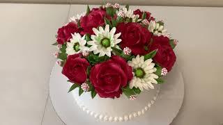 Торт БУКЕТ из БЕЛКОВОГО Крема Красивый торт