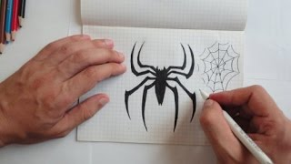 How to draw Spiderman logo(Ehedov Elnur)Как рисовать  паука в тетради_Horumceki nece cekmek lazimdir(Warning - Subscribe to my Youtube channel
