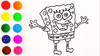 Como Dibujar y Colorear Bob Esponja de Arco Iris - Dibujos Para Niños - Learn Colors / FunKeep MP3