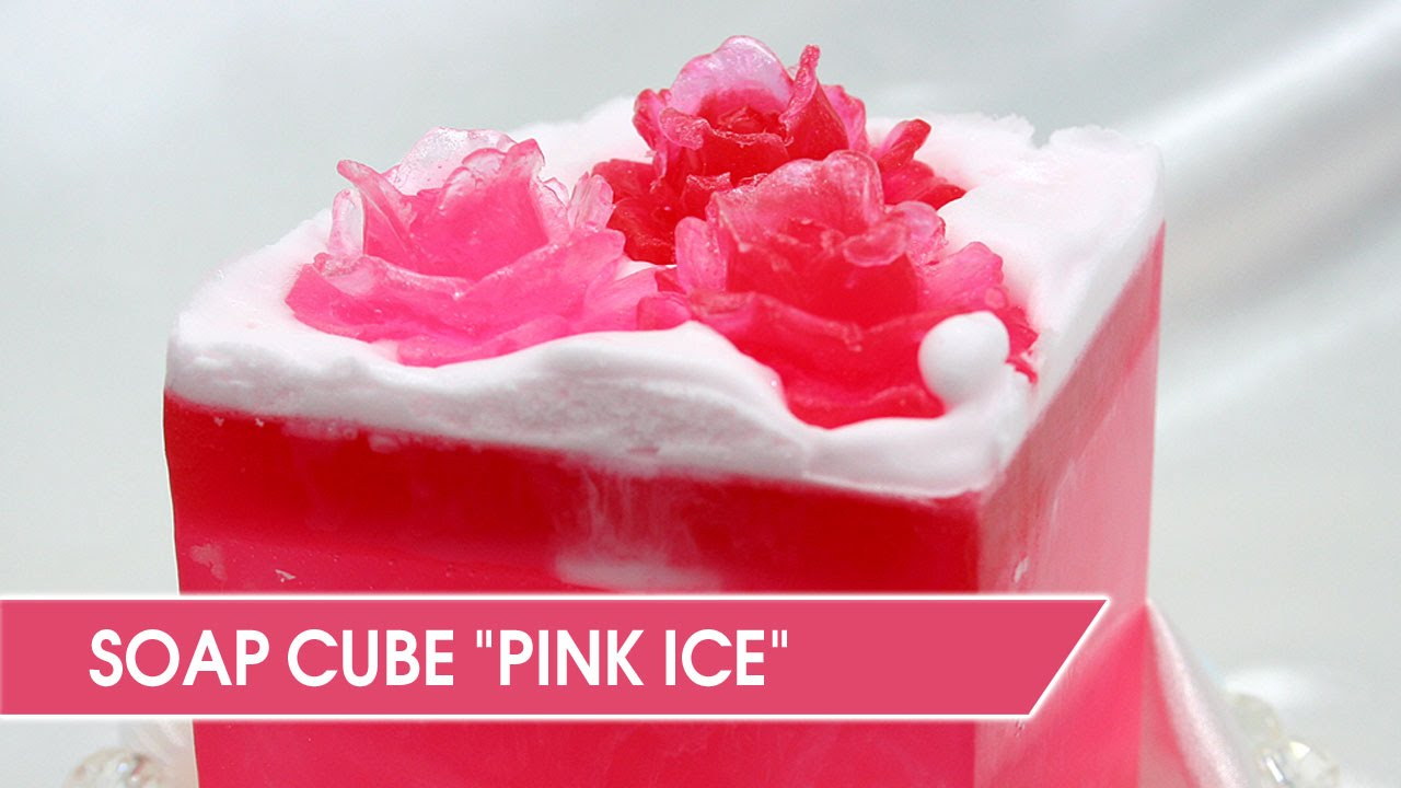 DIY: Soap Making  Pink ice soap cube with swirls