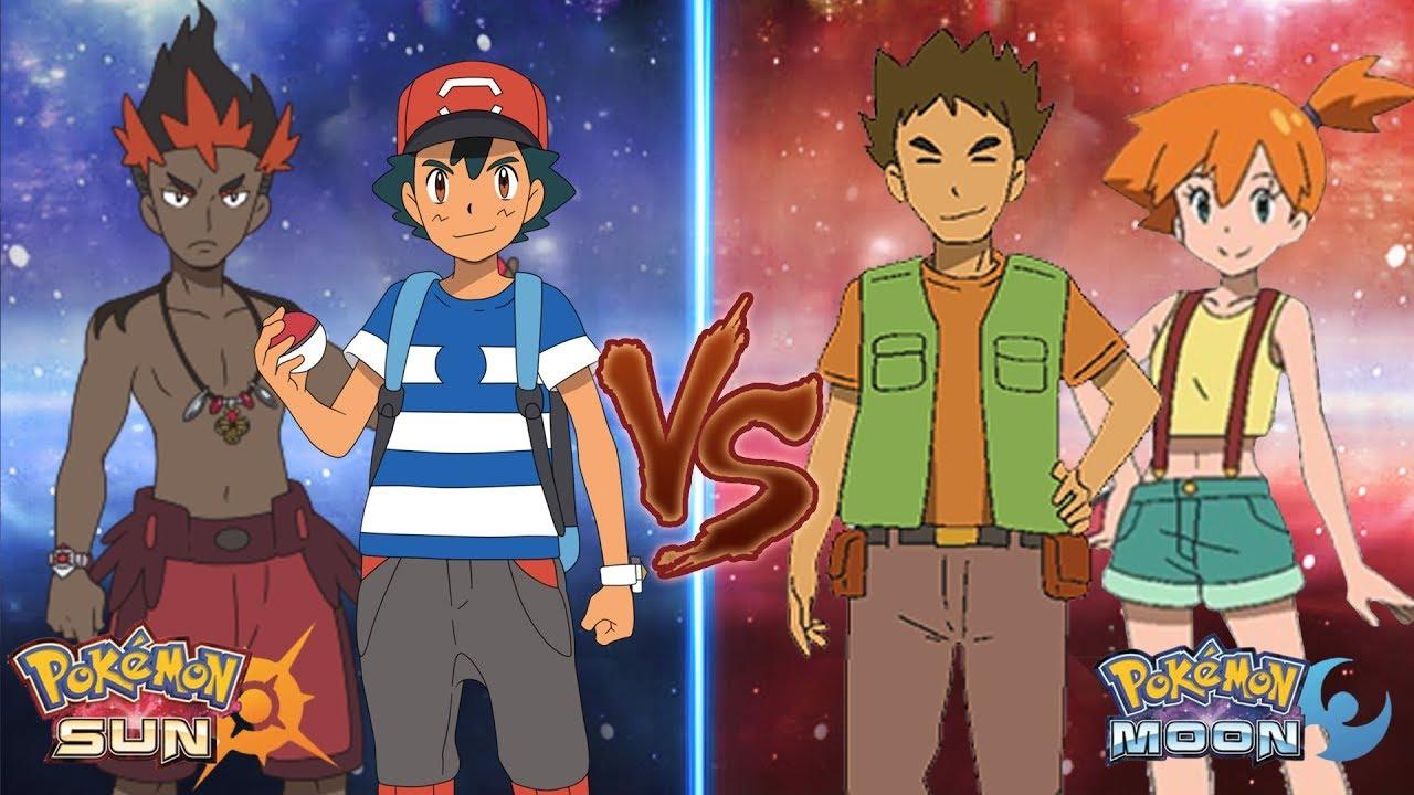 e44aa88db289 Pokemon Sun and Moon  Ash and Kiawe Vs Brock and Misty - YouTube