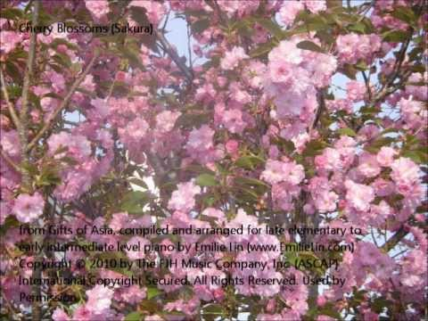 Piano Score for Japanese Folk Song: Sakura. Arranged at Late Elementary/Early Intermediate Level.