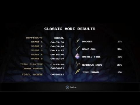 Bloodstained: Ritual of the Night classic mode final boss with ending credits. |