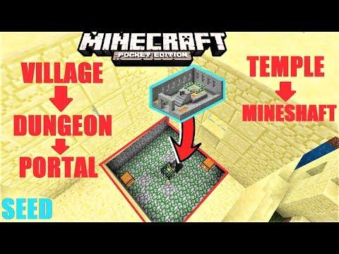 Minecraft PE - END PORTAL UNDER DUNGEON UNDER VILLAGE, MINESHAFT UNDER TEMPLE SEED | MCPE 1.8