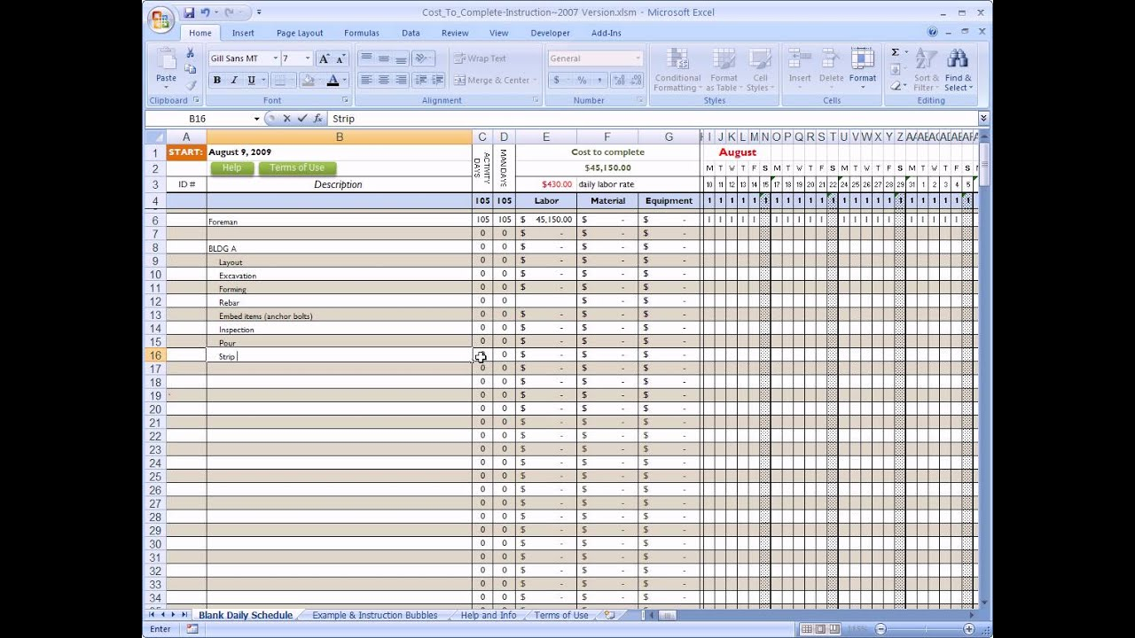 Cost To Complete For Construction In Excel