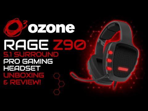 Ozone Rage Z90 5.1 Surround Pro Gaming Headset Unboxing, Review & Microphone Test!