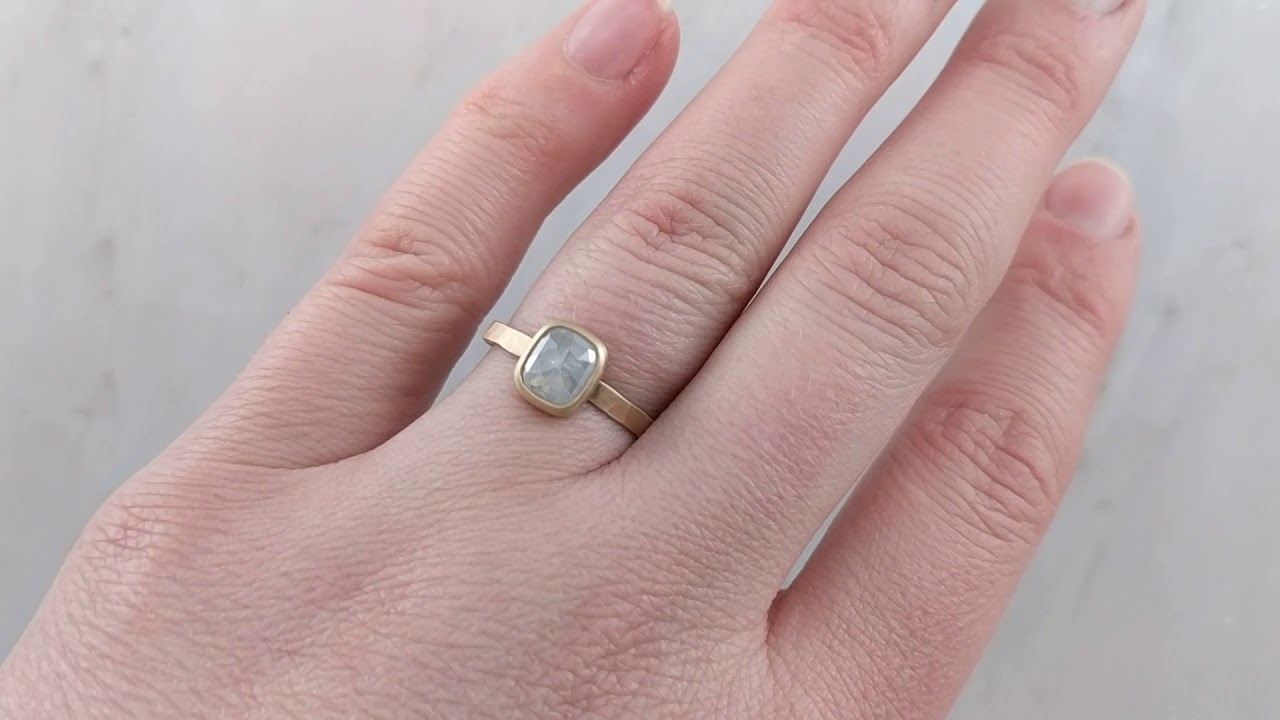 Grey Cushion Rose Cut Diamond Ring with Hammered Band in 14K Yellow ...