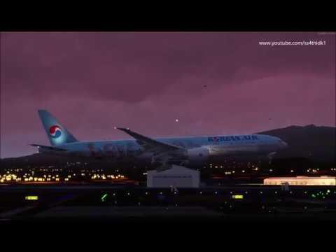 P3D v4 4 PMDG 777 Korean air Busan to Jeju with various views