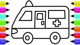 Toy Ambulance Coloring For Kids - Ambulance Drawing and Coloring Pages