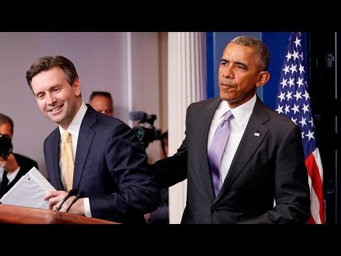 Obama surprises press secretary