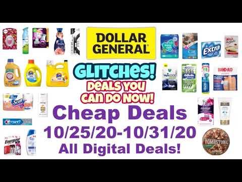 Dollar General Cheap Deals 10/25/20-10/31/20! Glitches, Freebies, & Overages! All Digital Deals!