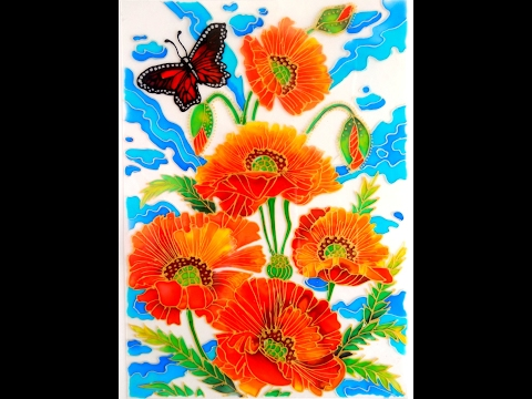 GLASS PAINTING OF FLOWERS