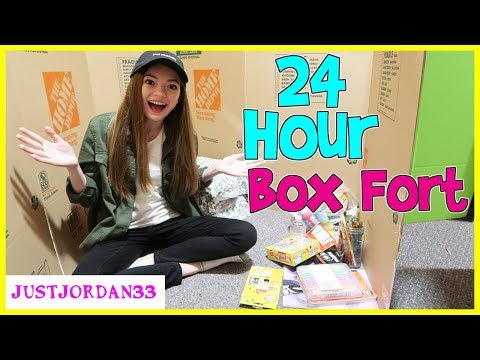 24 Hour Overnight In Huge Box Fort / JustJordan33