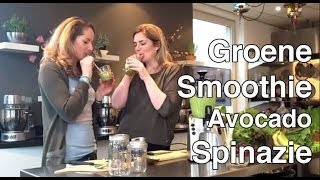 Groene Smoothie Avocado Spinazie Kokosmeel Amandelmelk