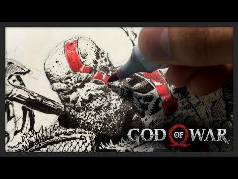 Kratos God of War Drawing (Comic Book Style) + Original Art Giveaway