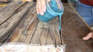 Baixar DIY Farmhouse Dining Table w/ Epoxy Inlays Using Reclaimed Barnwood