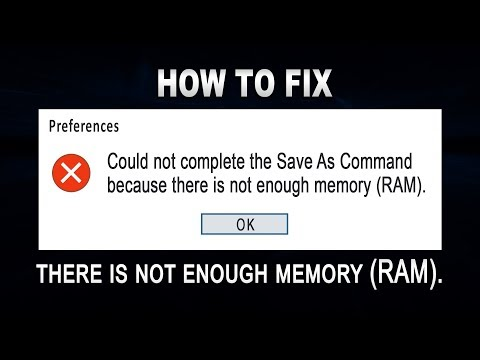 Could not complete the Save As Command because there is not enough memory RAM