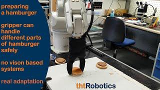 Adaptive Robotic Gripper. Grasping hamburger, cheeseburger and chicken-burger