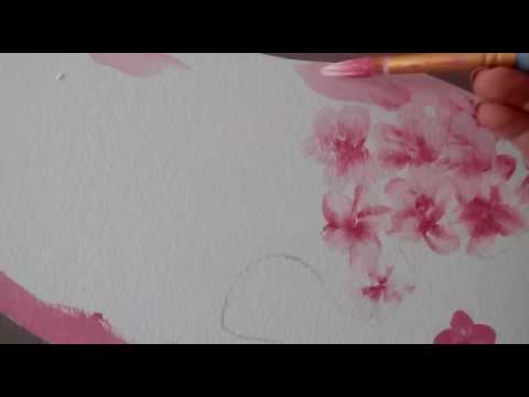 fiori di ciliegio dipinti a mano libera sulla parete