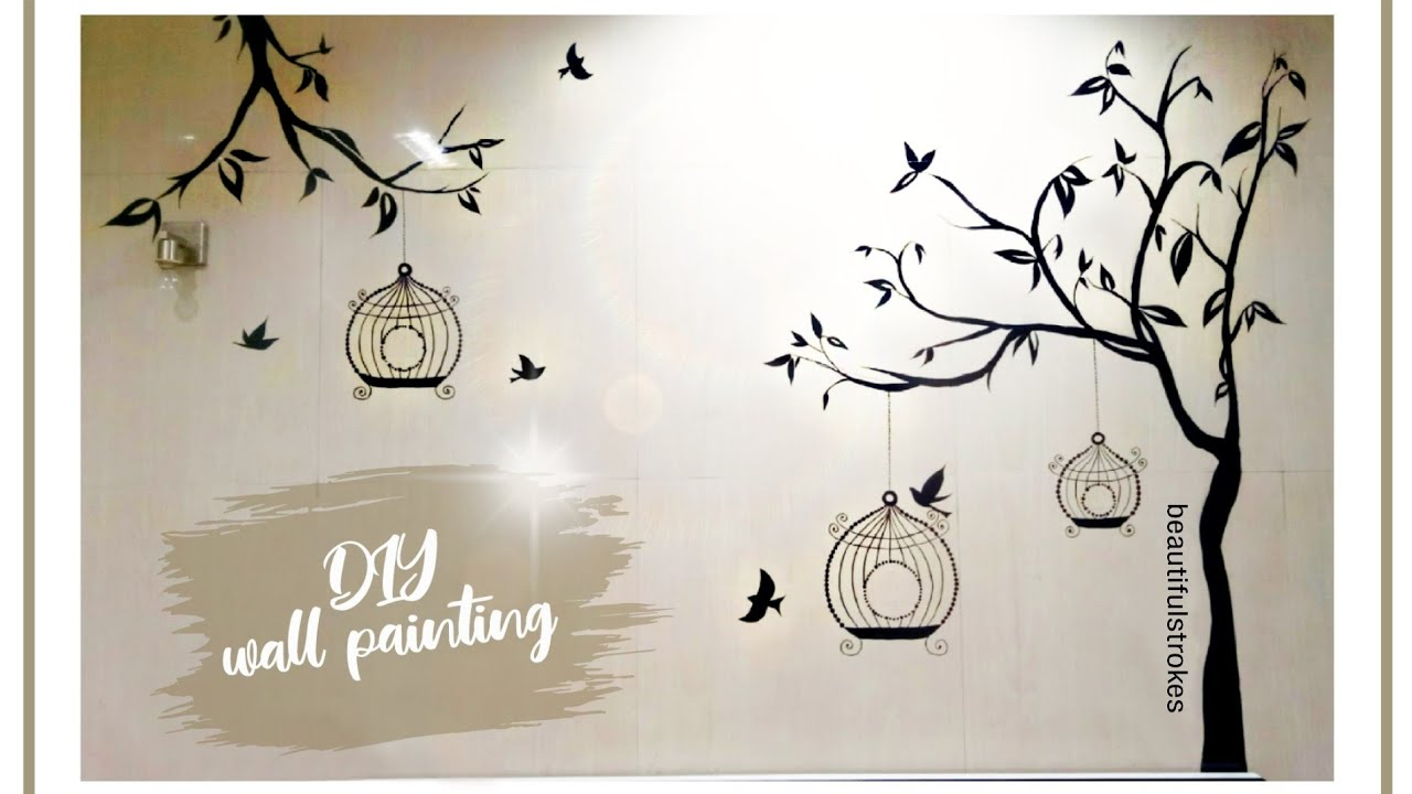Tree Silhouette Painting On Wall - Defendbigbird.com
