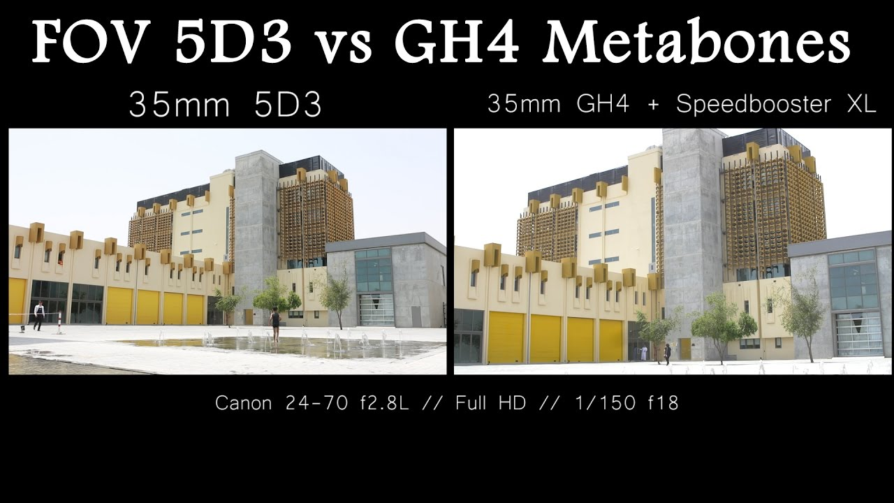 Field of View Comparison - 5D3 full frame vs GH4 Metabones XL - YouTube