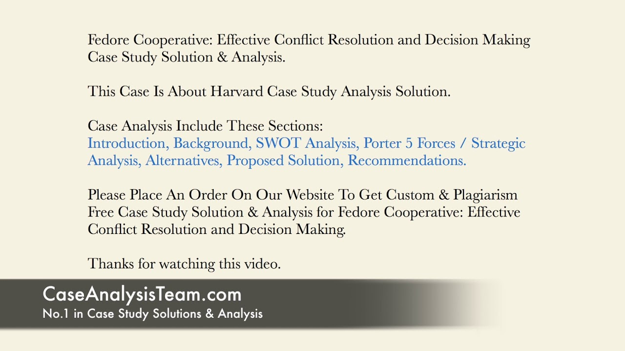 conflict resolution case study solution