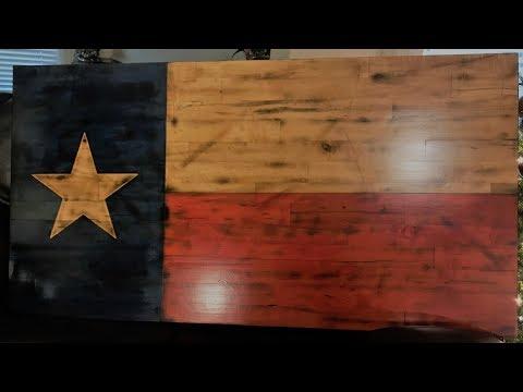 Rustic Texas Flag from reclaimed skating rink flooring