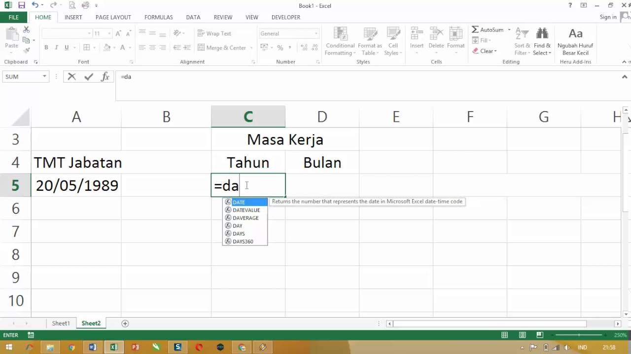 Cara Paling Mudah Menghitung Masa Kerja Menggunakan Ms Excel Youtube