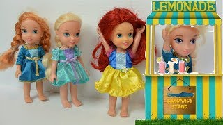 chelsea lemonade stand 2🍋annia and elsia toddlers disney princesses✨❄barbie💋toys and dolls