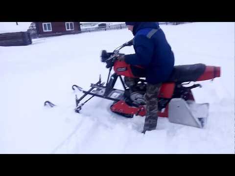 """Самодельный снегоход из мотоцикла ИЖ """"Планета-5"""""""