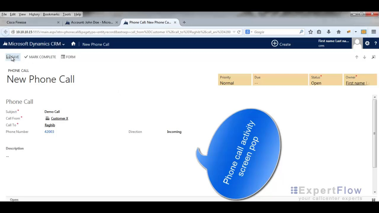 Microsoft Dynamics - Cisco UCCX/ UCCE/ PCCE Screen-pop Connector