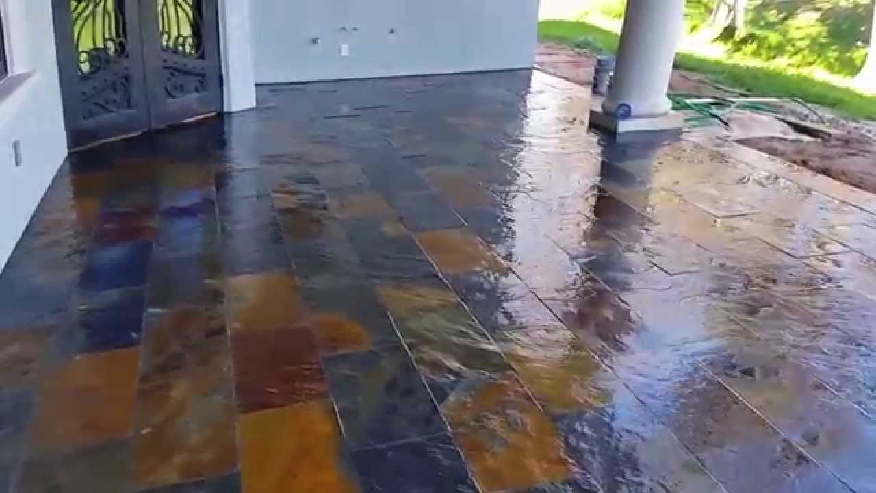 Slate tile on patio 12x24 video - YouTube