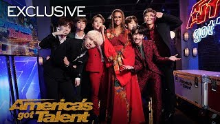 "BTS and Tyra Banks Show Off Their ""Idol"" Dance Moves - America's Got Talent 2018"