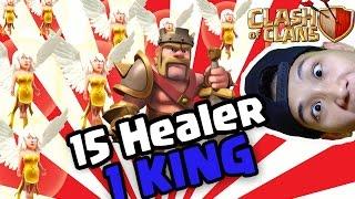Serangan King dan 15 Healer | Kuat Kayak Superman | Clash Of Clans