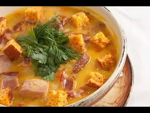 Гороховый суп с копченостями, с курицей, суп пюре из