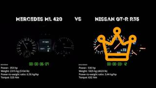 Mercedes ML 420 vs. Nissan GT-R R35 - the 0-100 km/h duel. Which on...