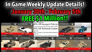 GTA 5 ONLINE IN GAME WEEKLY UPDATE DETAILS! FREE $1 MILLION!, 2X MONEY, NEW CAR, DISCOUNTS, & MORE!