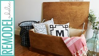 Build this simple DIY wooden storage chest from just one sheet of plywood and a piece of baseboard trim with this video tutorial ...
