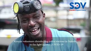Kenyan volunteer disinfects police stations in fight against COVID 19