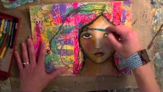 Portrait of a girl mixed media painting