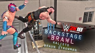 Exploring Backstage In WWE 2K18 Backstage Brawl | Kalisto vs Braun Strowman