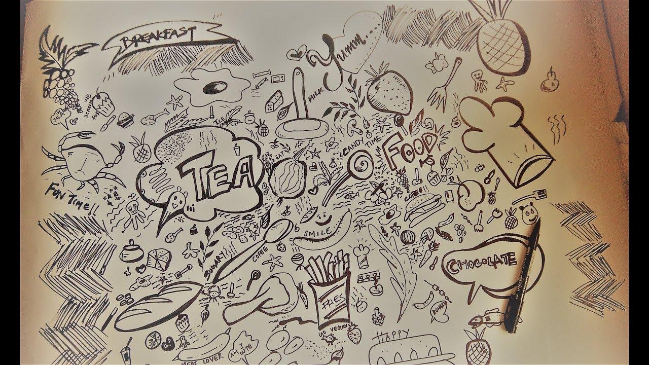 Doodle art for kitchen wallpaper kitchen items food doodles