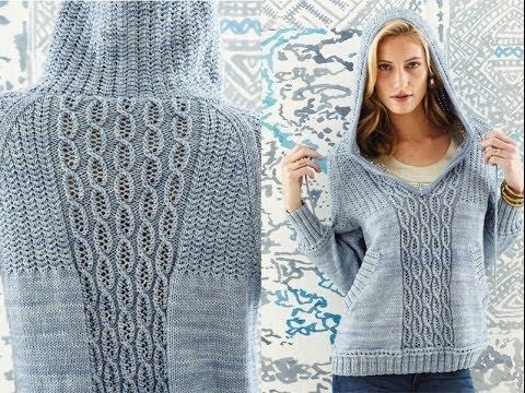 24 Hooded Raglan Pullover Vogue Knitting Springsummer 2014 Youtube