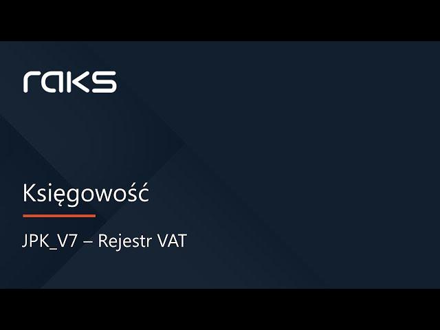 JPK V7 - Rejestr VAT