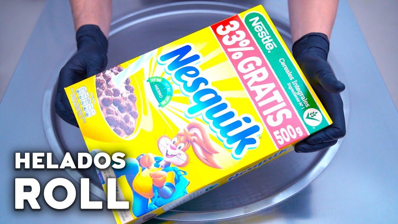 Helado de Nesquik Cereales | Helado en Rollo | Helado a la Plancha | Ice Cream Rolls | ASMR
