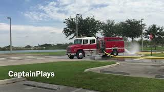 Palm Beach County Fire Rescue Engine Dumping Water