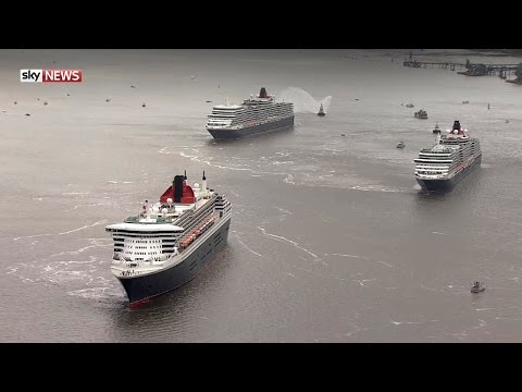 Cruise Ships On The Mersey For Cunard's 175th Anniversary